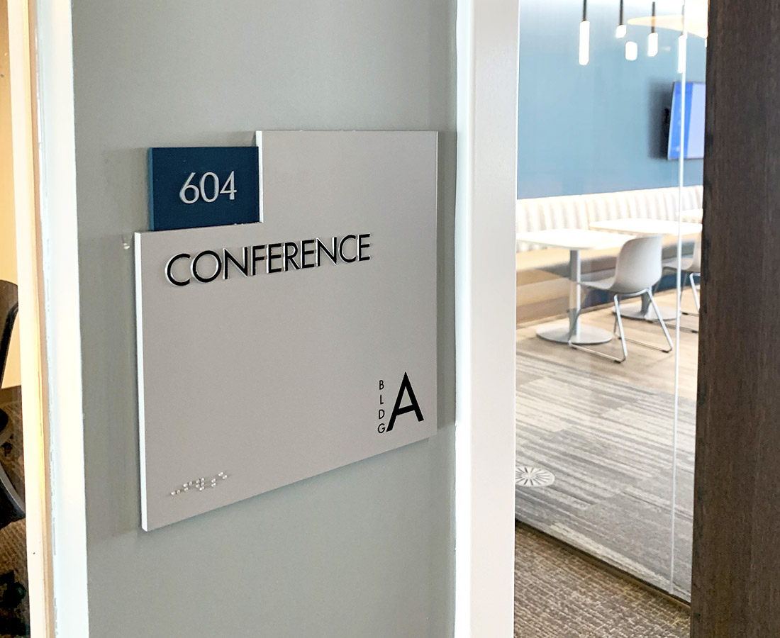Interior ADA room ID sign in building A at Denver Water
