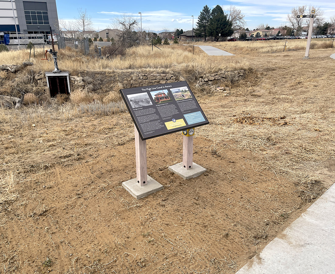 Informational panel along the High Line Canal in Aurora