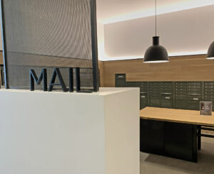 Interior acrylic letters for Mail room at Modera LoHi