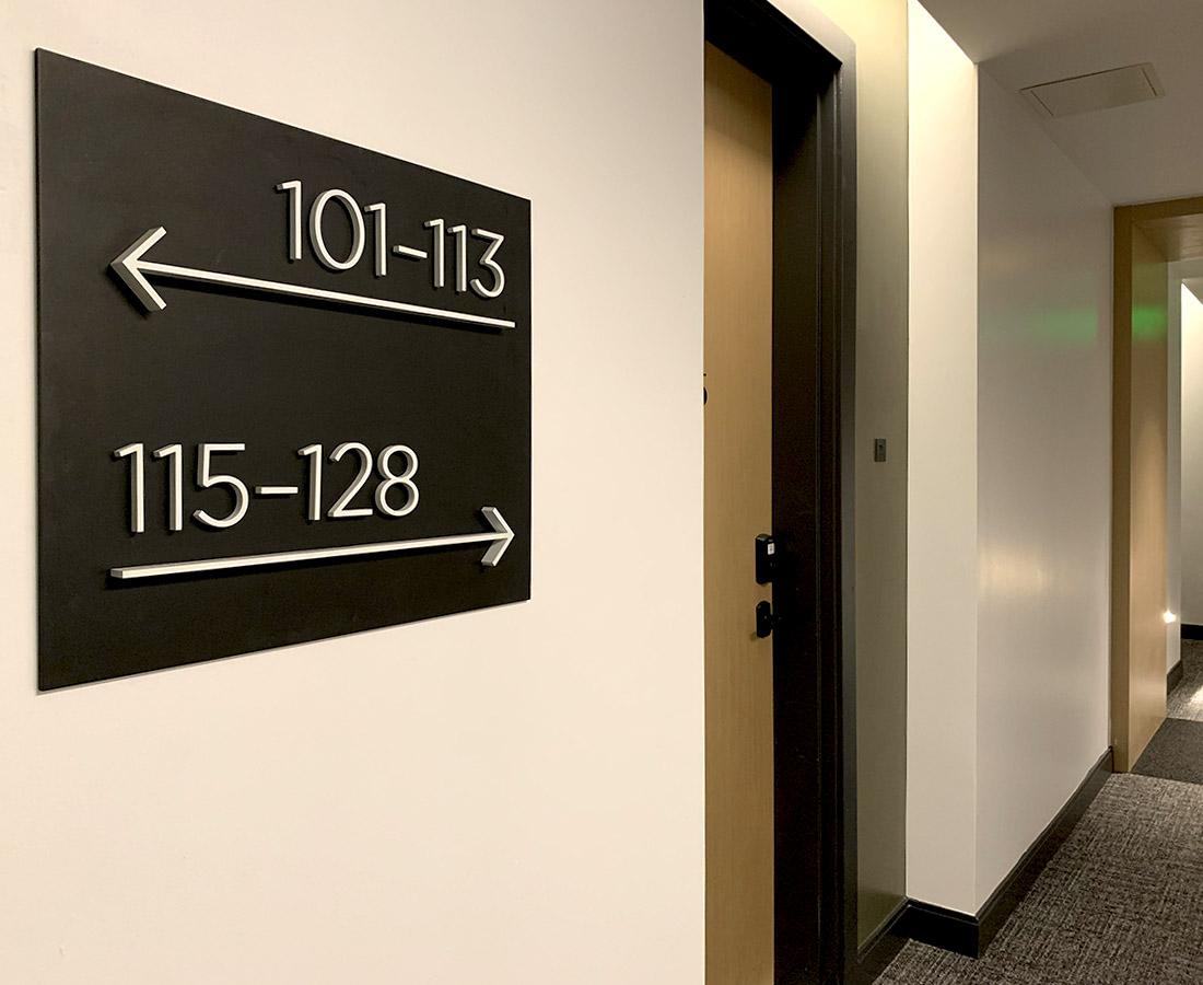 Interior Wayfinding sign at Modera LoHi