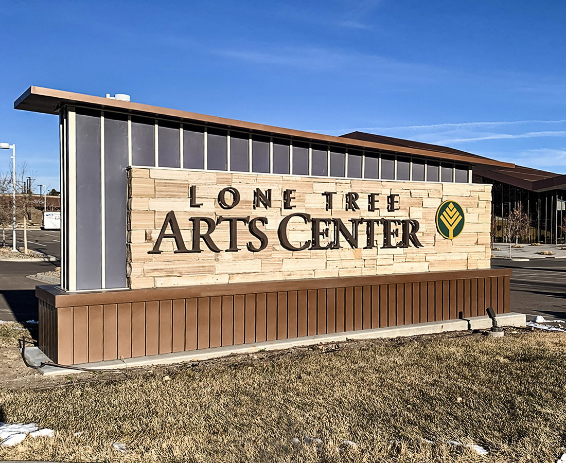 Lone Tree Arts Center monument sign in daylight