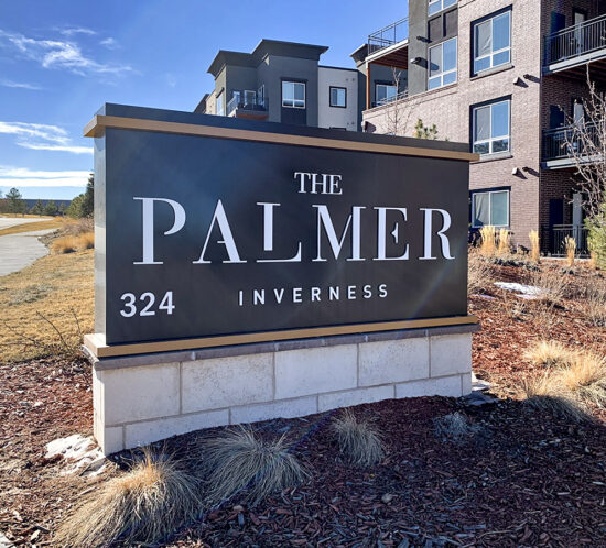 Monument sign at The Palmer
