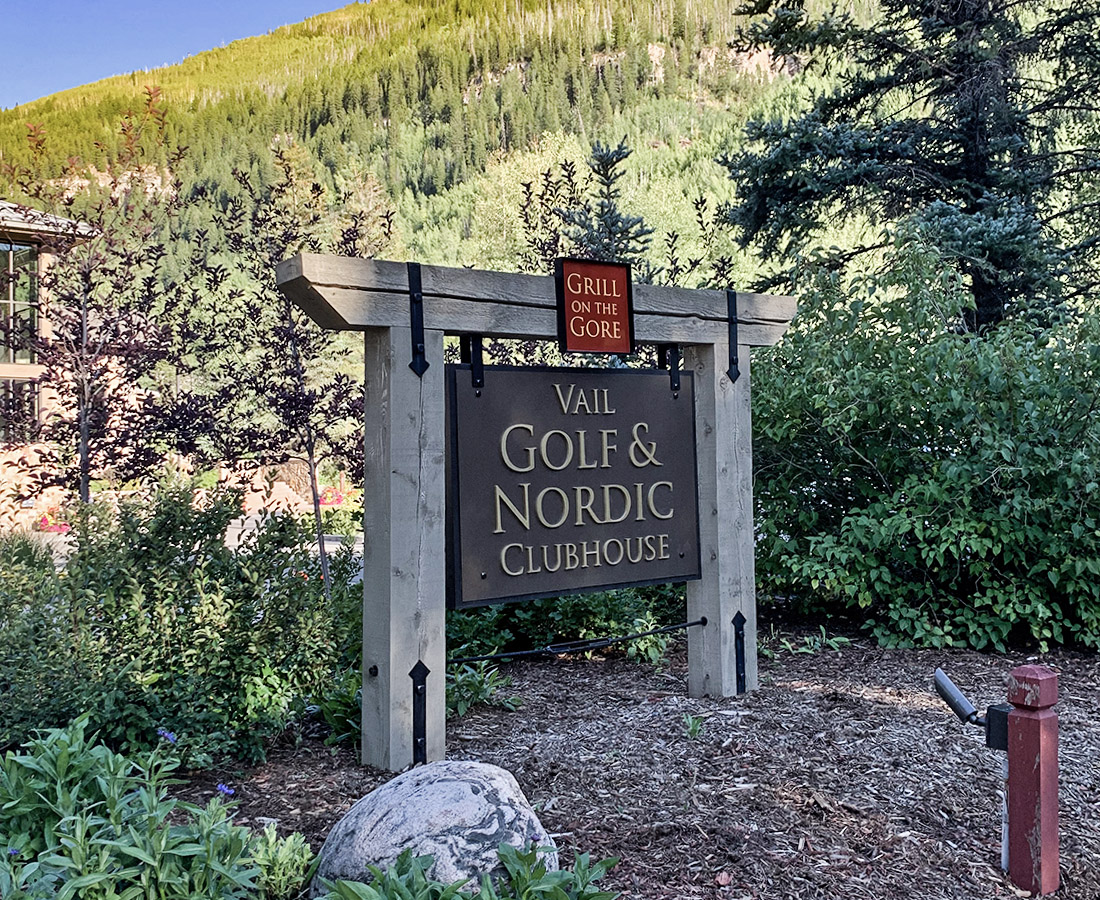 Vail Golf and Nordic Clubhouse monument sign with cedar wood beams