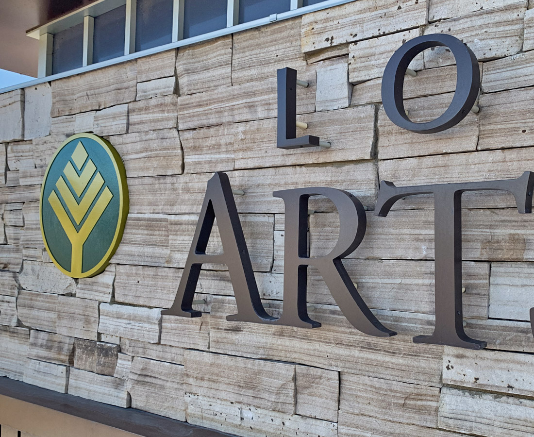 Lone Tree Arts Center monument sign close up
