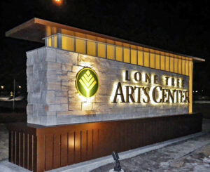 Lone Tree Arts Center monument sign night time