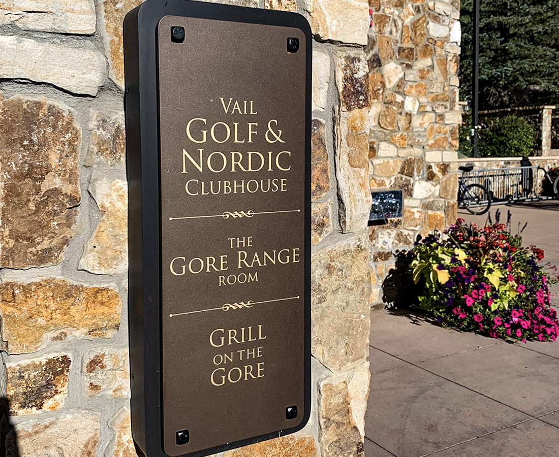 Vail Golf and Nordic Clubhouse exterior building ID sign