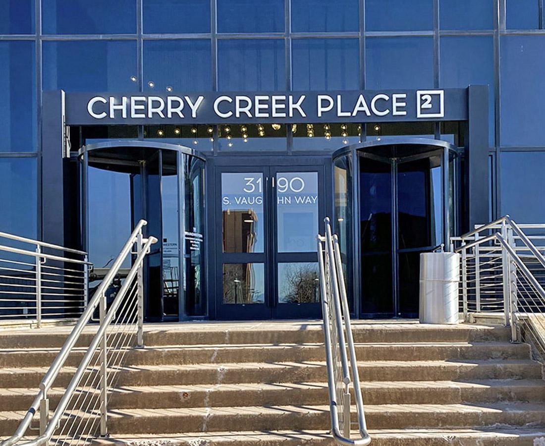 Cherry Creek Place 2 entrance illuminated letterset