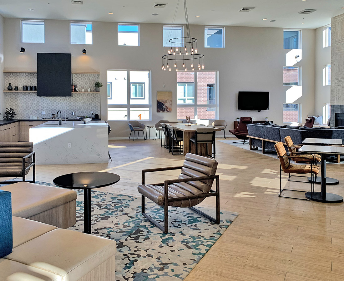 Leasing center lobby entrance area at The Palmer
