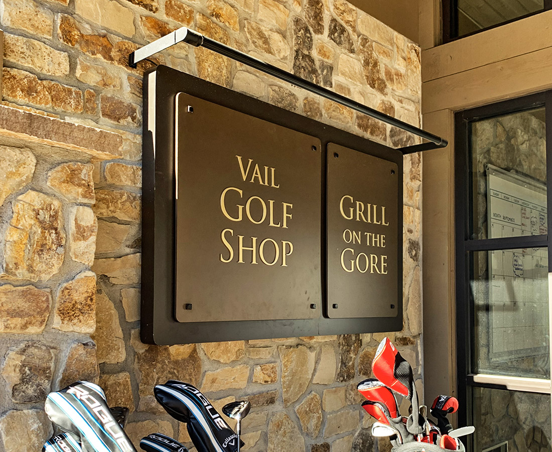 Vail Golf and Nordic Clubhouse exterior building sign of Vail Golf Shop and Grill on the Gore