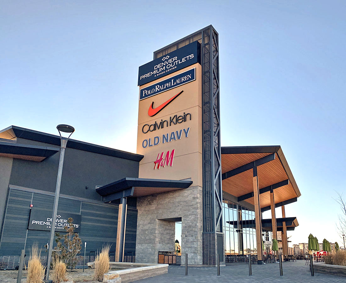 Exterior signs at Denver Premium Outlets, Polo, Nike, CalvinKlein, Old Navy and HM