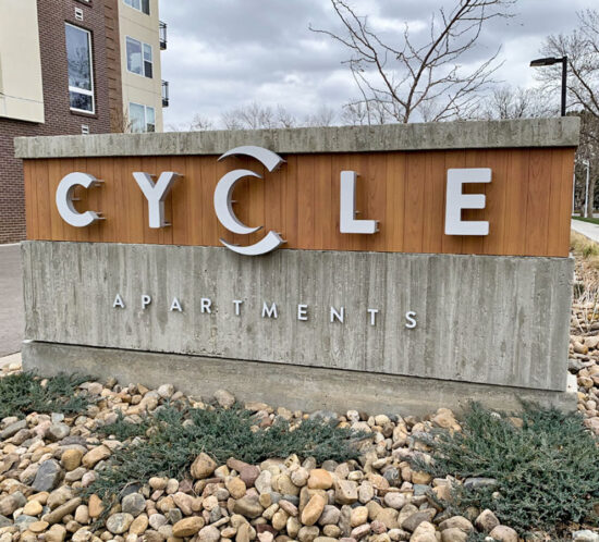 Cycle Apartments Monument Sign