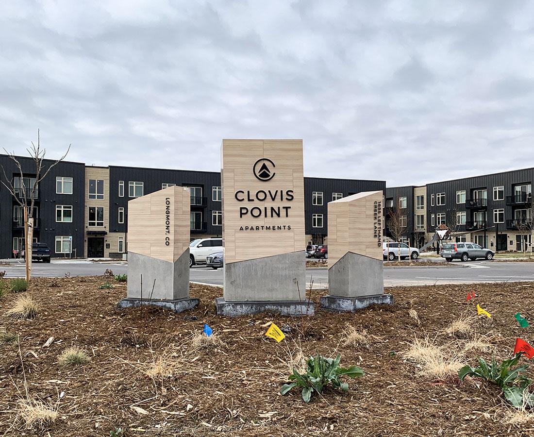 Clovis Point Apartments three monuments