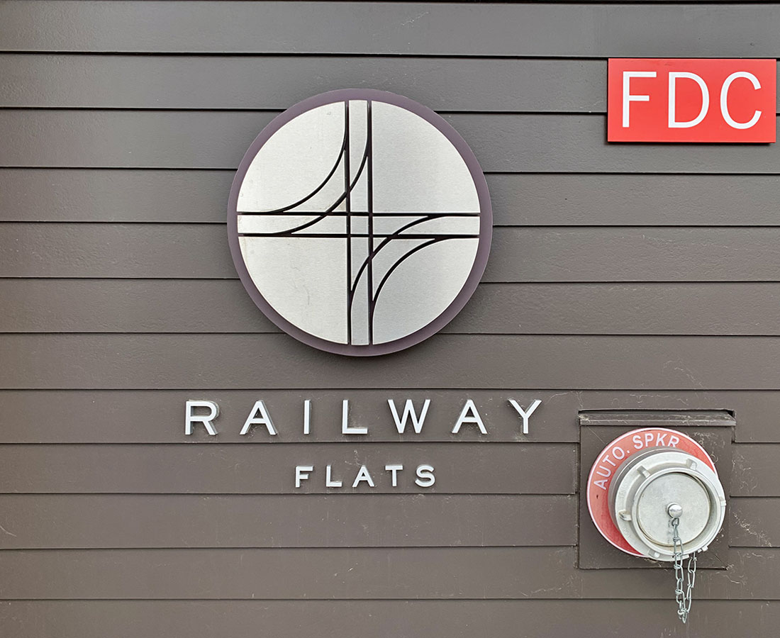 Railway Flats illuminated plaque