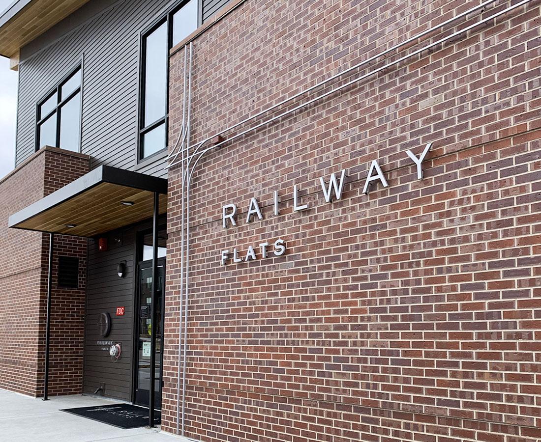 Railway Flats exterior building sign