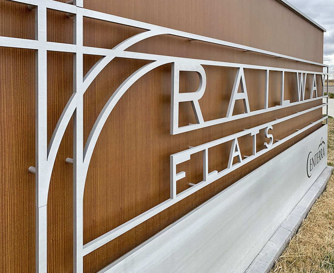 Railway Flats large monument sign close up
