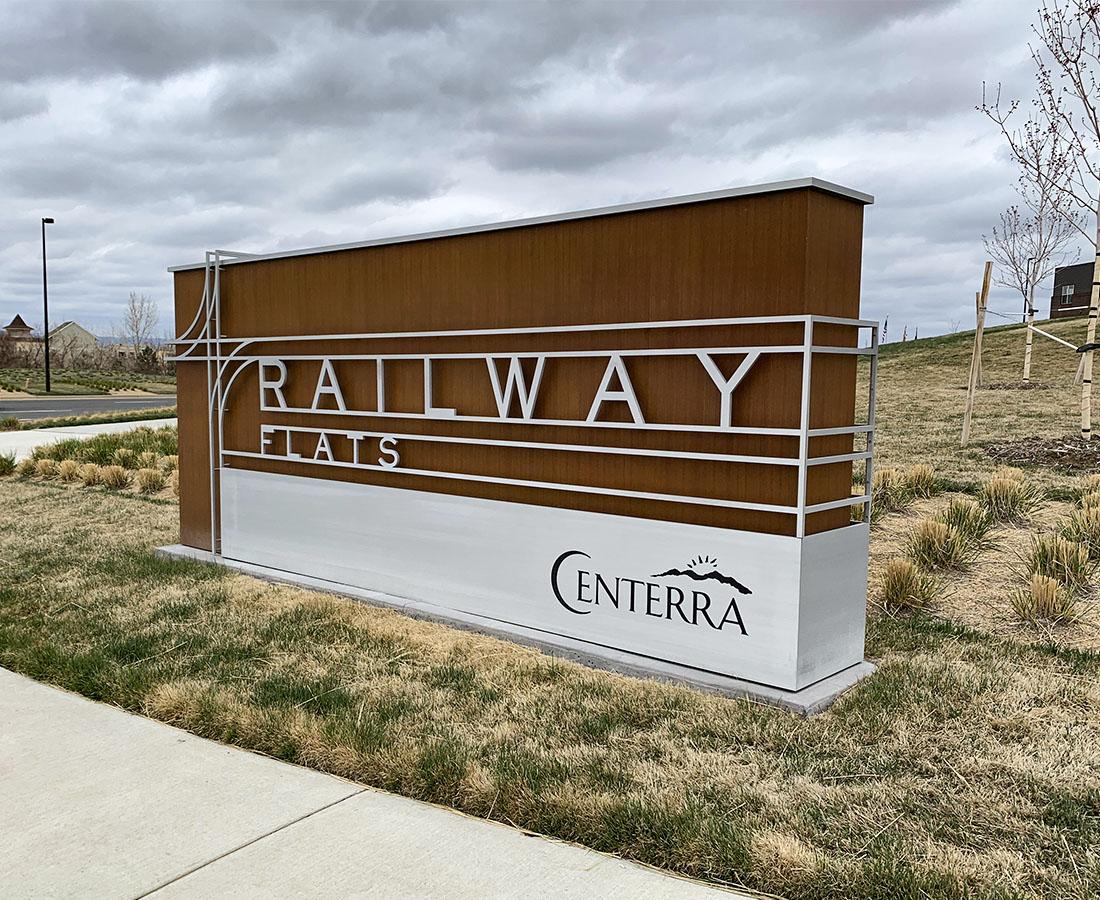 Railway Flats monument sign